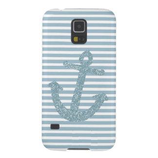Girly blauer Glitzer-Anker Samsung Galaxy S5 Hüllen
