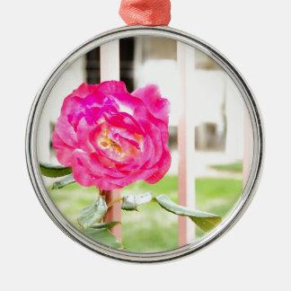 girly Blumen der rosa pinkfarbenen Blume Silbernes Ornament