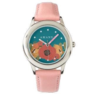 Girly Blumenblumenstrauß-Name-Rosa Armbanduhr
