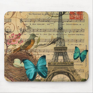 girly Blumenschmetterlingsparis-Eiffelturm Mousepads