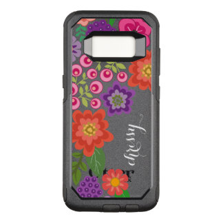 Girly buntes Blumenmuster-Name-Monogramm OtterBox Commuter Samsung Galaxy S8 Hülle