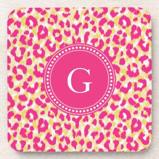 Girly buntes rosa Geparddruckmonogramm Getränkeuntersetzer