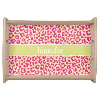 Girly buntes rosa Geparddruckmonogramm Serviertablett
