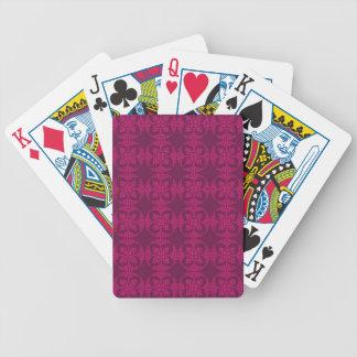 Girly Burgunder und rosa geometrisches Blumen Bicycle Spielkarten