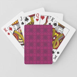 Girly Burgunder und rosa geometrisches Blumen Spielkarten