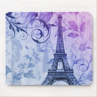 Girly Chic lila Girly mit Blumenturm Paris Eiffel Mousepads