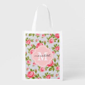 Girly Chic-Vintages Rosen-Gewohnheits-Monogramm Wiederverwendbare Einkaufstasche
