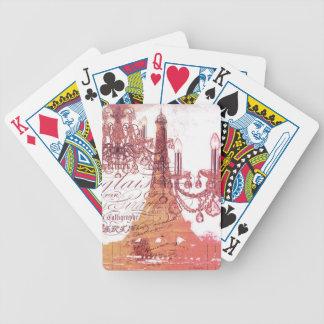 girly Eiffel-Turm des girly Vintagen französischen Bicycle Spielkarten