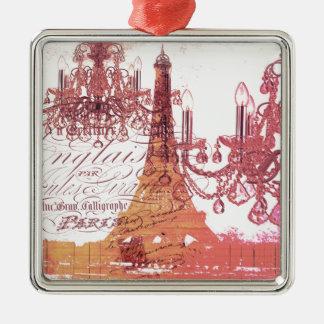 girly Eiffel-Turm des girly Vintagen französischen Quadratisches Silberfarbenes Ornament