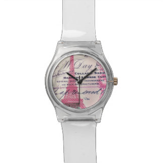 girly Eiffelturm rosa Spitzemit Uhr