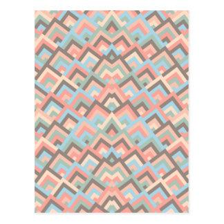 Girly Erdzickzack-symmetrisches Blicks-Muster Postkarte