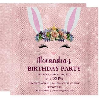Girly erröten rosa Osterhasen-Geburtstags-Party Karte
