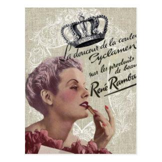 Girly Fashionista Glamour der französischen Krone Postkarte