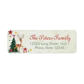 Girly frohe Weihnacht-Ren - Adressen-Etiketten