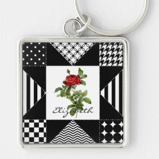 Girly geometrische Schwarzweiss-rote Rose mit Schlüsselanhänger