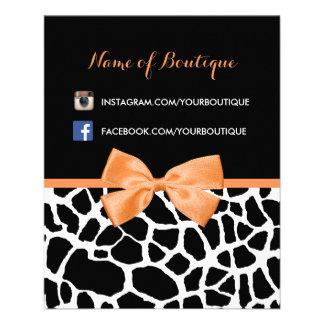 Girly Giraffen-Druck-orange Bogen-Mode-Butike 11,4 X 14,2 Cm Flyer
