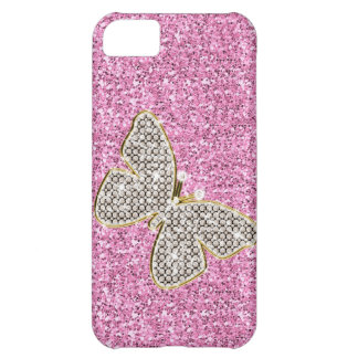Girly Glitter mit Schmetterling iPhone 5C Hülle