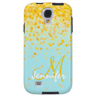 Girly goldener gelber Confetti-Türkis ombre Name Galaxy S4 Hülle