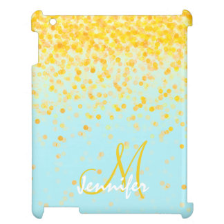 Girly goldener gelber Confetti-Türkis ombre Name iPad Hülle