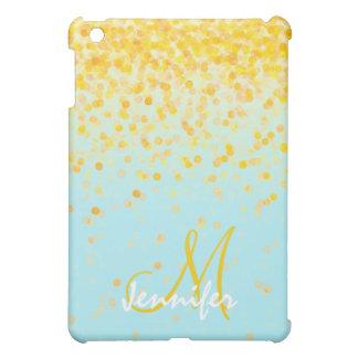Girly goldener gelber Confetti-Türkis ombre Name iPad Mini Schale
