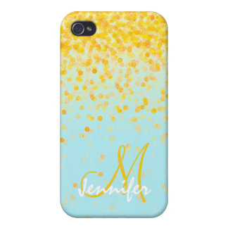 Girly goldener gelber Confetti-Türkis ombre Name iPhone 4/4S Hülle