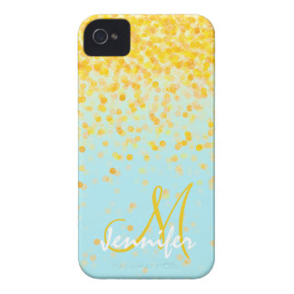 Girly goldener gelber Confetti-Türkis ombre Name iPhone 4 Hüllen