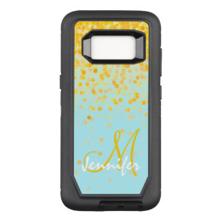 Girly goldener gelber Confetti-Türkis ombre Name OtterBox Defender Samsung Galaxy S8 Hülle