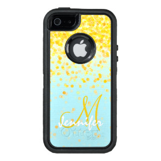 Girly goldener gelber Confetti-Türkis ombre Name OtterBox iPhone 5/5s/SE Hülle