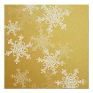 Girly goldenes und weißes Weihnachtsschneeflocken Poster