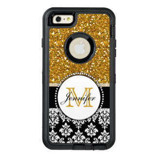 Girly GoldGlitter-Schwarz-Damast personalisiert OtterBox iPhone 6/6s Plus Hülle