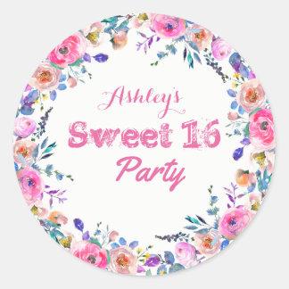 Girly hübscher tropischer rosa Blumen-Bonbon 16 Runder Aufkleber