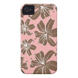 Girly hübsches Rosa und Brownblumendruck-Linie iPhone 4 Cover