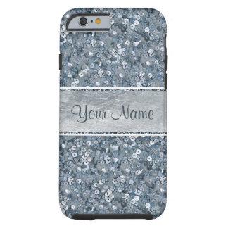 Girly Imitatblauer Sequins-Glitter-silberne Folie Tough iPhone 6 Hülle