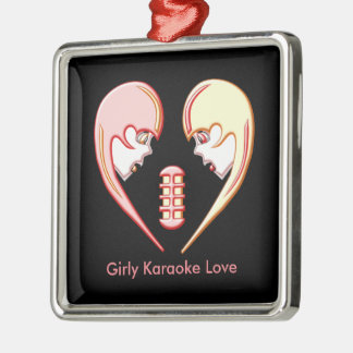 Girly Karaoke-Liebe-Herz Silbernes Ornament