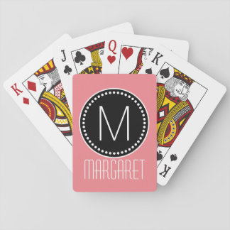 Girly korallenrotes rosa gerahmtes Monogramm Pokerkarte