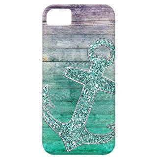 Girly lila Aqua-Anker-u. Holz-nautischblick iPhone 5 Etui