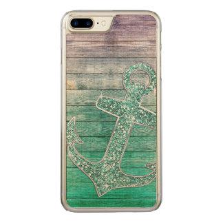 Girly lila Aqua-nautischanker u. Holz Carved iPhone 8 Plus/7 Plus Hülle