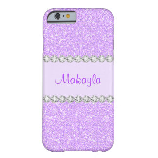 Girly lila Glitter-Glitzern iPhone 6 Pastellkasten Barely There iPhone 6 Hülle