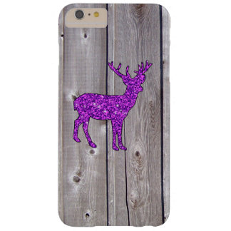 Girly lila Glitter-Rotwild-rustikale Art Barely There iPhone 6 Plus Hülle