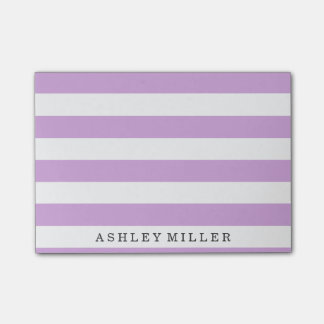 Girly lila Klassiker Stripes Monogramm-Anmerkungen Post-it Klebezettel