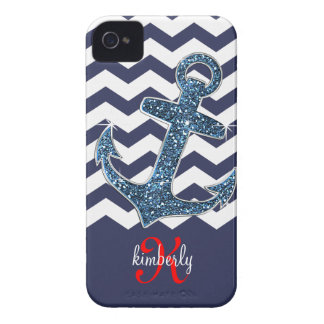 Girly Marine-Imitat-Glitzer-AnkerZickzack Chic iPhone 4 Case-Mate Hülle