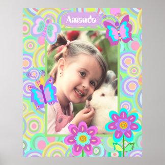 Girly mit Monogramm Fotorahmen Poster