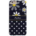 Girly Mod-Gänseblümchen und Polka-Punkte mit Namen Barely There iPhone 6 Plus Hülle