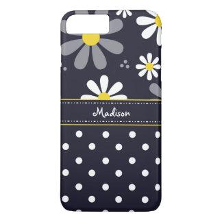 Girly Mod-Gänseblümchen und Polka-Punkte mit Namen iPhone 8 Plus/7 Plus Hülle