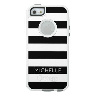 Girly moderner Chic-Schwarz-weißes Streifen-Muster OtterBox iPhone 5/5s/SE Hülle