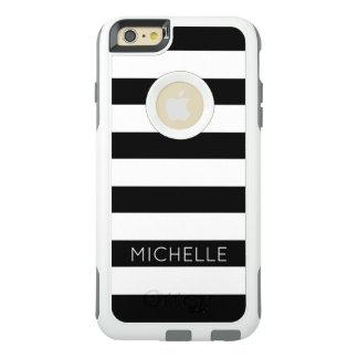Girly moderner Chic-Schwarz-weißes Streifen-Muster OtterBox iPhone 6/6s Plus Hülle
