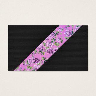 Girly modernes Trendy Hipster-Rosa-Blumenstreifen Visitenkarte