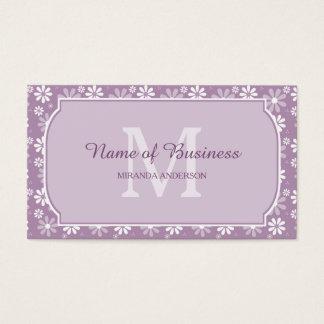Girly Monogramm-hellpurpurne Gänseblümchen-Blumen Visitenkarte
