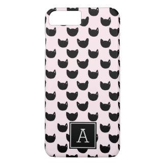 Girly Monogramm ROSA schwarze Katze des Chic iPhone 8 Plus/7 Plus Hülle