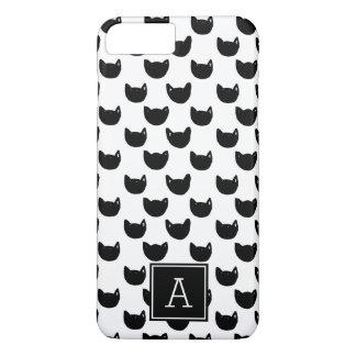 Girly Monogramm schwarze Katze Chic Gekritzels iPhone 8 Plus/7 Plus Hülle